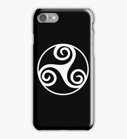 Celtic, Triskel, WHITE, triskelion or triskele, three, legs, Neolithic, Bronze Age, Iron Age, iPhone Case/Skin