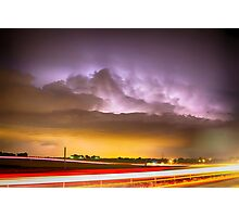 25 to 34 Intra-Cloud Lightning Golden Light Car Trails Photographic Print