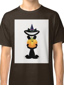 Black  cat with Halloween pumpkin on white background Classic T-Shirt