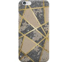 Black Modern Glitter Geo Gold Triangles iPhone Case/Skin