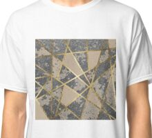 Black Modern Glitter Geo Gold Triangles Classic T-Shirt