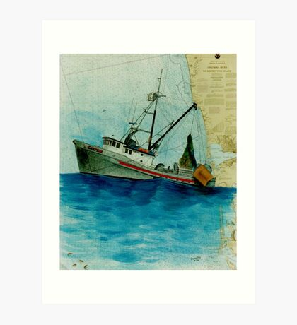 Shrimp Fishing Boat CZARINA Cathy Peek Nautical Chart Art Print
