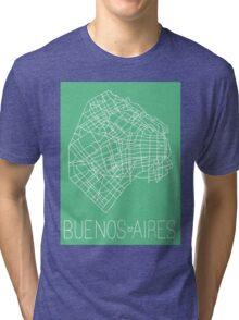Buenos Aires Map - Mint Tri-blend T-Shirt