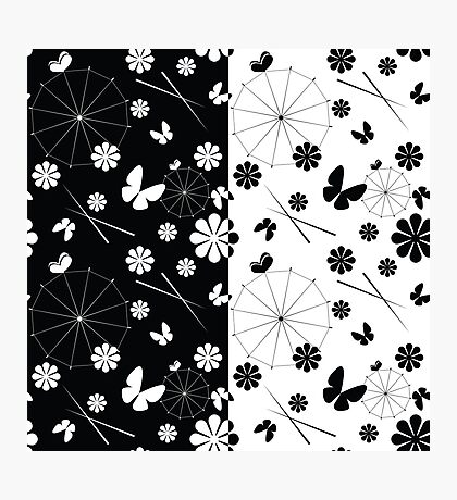 set of seamless pattern with jaran parasol and flowers Photographic Print