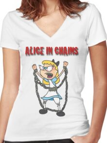 """Alice In Chains"" Women's Fitted V-Neck T-Shirt"