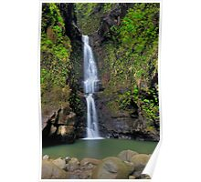 Double Waterfall - Backcountry Kapaa, Kauai Poster