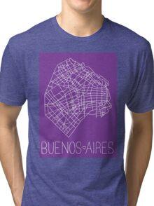 Buenos Aires Map - Purple Tri-blend T-Shirt