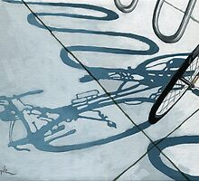 Bicycle Shadow painting cycling art by LindaAppleArt