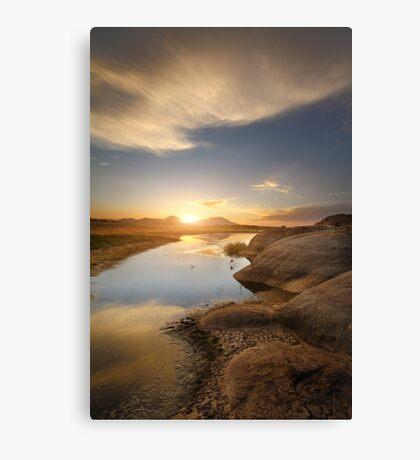 Meeting at Sunset Canvas Print