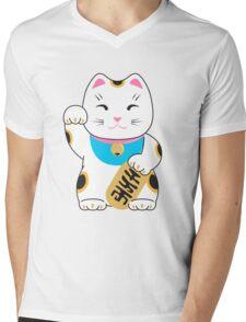 Maneki-neko good luck cat pattern Mens V-Neck T-Shirt
