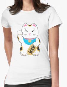 Maneki-neko good luck cat pattern Womens Fitted T-Shirt