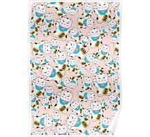 Maneki-neko good luck cat pattern Poster
