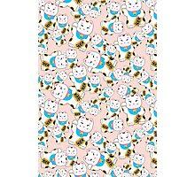 Maneki-neko good luck cat pattern Photographic Print