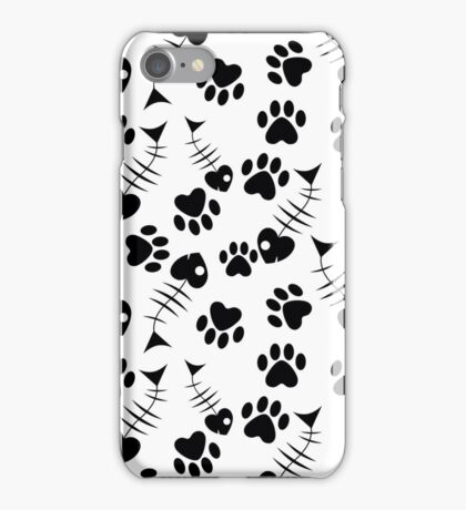 seamless pattern with cat`s paw and fish iPhone Case/Skin