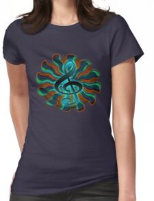 Psychedelic Treble Clef / G Clef Music Symbol Womens Fitted T-Shirt