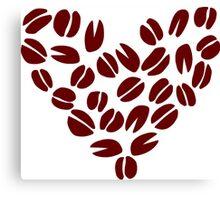 Coffee Bean Heart Canvas Print