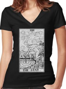 The Star Tarot Card - Major Arcana - fortune telling - occult Women's Fitted V-Neck T-Shirt