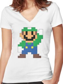 Super Mario Maker - Luigi Costume Sprite Women's Fitted V-Neck T-Shirt