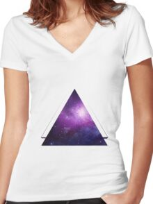 Galaxy 3D Triangle Women's Fitted V-Neck T-Shirt