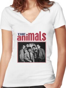 The Animals Band Women's Fitted V-Neck T-Shirt