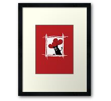 Friendly cartoon cat with ball of heart Framed Print