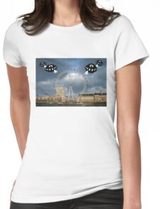 Aliens attack the London Eye Womens Fitted T-Shirt