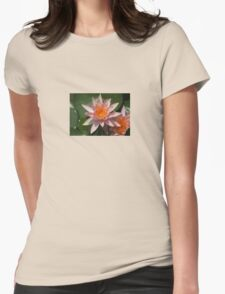 Beautiful Peach Waterlily Vector Womens Fitted T-Shirt