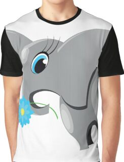 Cute cartoon elephant.  All in a single layer. Graphic T-Shirt