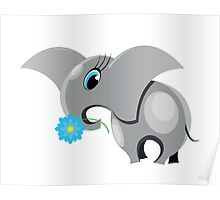 Cute cartoon elephant.  All in a single layer. Poster