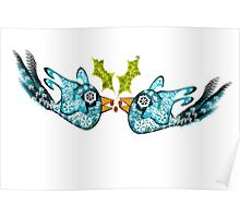 BluE WiNTER sNOW bIRDs (PEACE ON EARTH) Poster