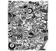 Stickerbomb Black and white Poster