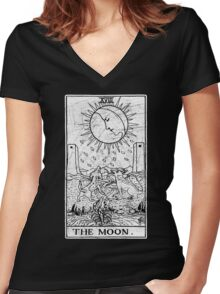 The Moon Tarot Card - Major Arcana - fortune telling - occult Women's Fitted V-Neck T-Shirt