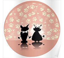 black silhouette of two love cat on  wedding Poster