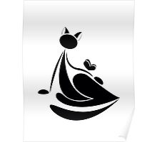 Black cat silhouette with butterfly for your design Poster