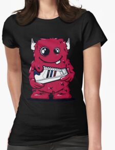 Red Monster shoes Art Design Monster Womens Fitted T-Shirt