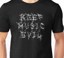 KEEP MUSIC EVIL - DISTRESSED WHITE Unisex T-Shirt