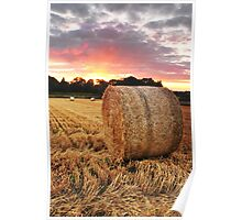 Straw bale at sunset Poster