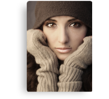 Woman in knit Canvas Print