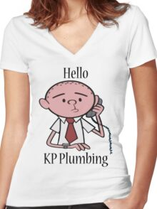 KP Plumbing - Text Women's Fitted V-Neck T-Shirt