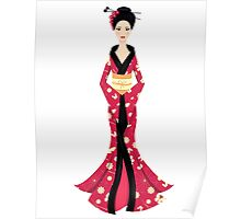Cute Asian Girl Character on scarlet kimono Poster