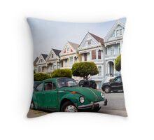 Volkswagen Beetle on Steiner Street Throw Pillow