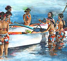 Polynesian Women around Canoe by Goodaboom