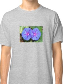 Vivid Blue, Purple and Pink Ipomoea Flowers Classic T-Shirt