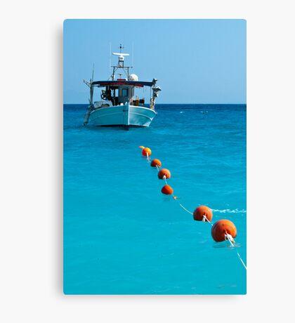 Sea, sky, boat and buoys Canvas Print