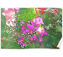 Pink flowers with butterflies Poster