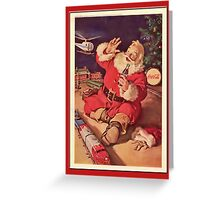 Coca-Cola-Vintage Santa and Trains Greeting Card