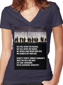 Band of Brothers - Airborne Infantry Women's Fitted V-Neck T-Shirt