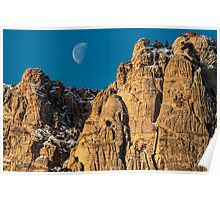 Moon-set Over Red Rock Poster