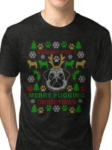 Merry Pugging Christmas Pug Ugly Sweater Digital Art Tri-blend T-Shirt