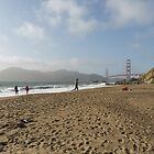 Running On The Beach in San Francisco by Steve Belovarich